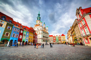 Poznan, Posen market square, old town, Poland. Town hall and colourful historical buildings.
